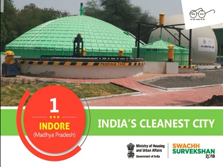 indore number 1 in swachh bharat 2018